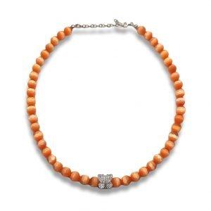 Collana Girocollo Pietra di Gatto Briolet Arancio